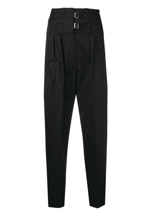 Dolce & Gabbana cropped buckle front trousers - Black