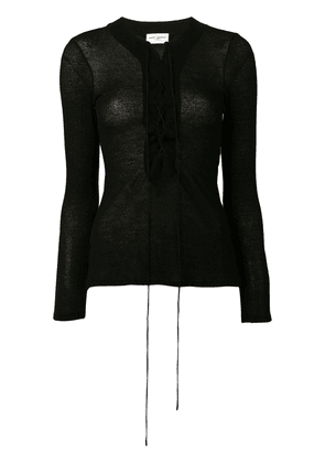 Saint Laurent laced knitted top - Black