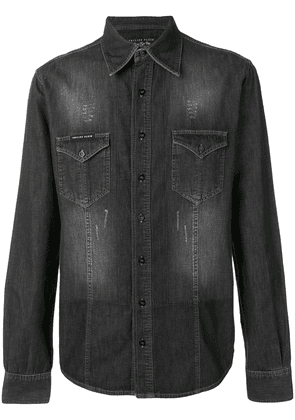 Philipp Plein skull embroidered shirt - Black