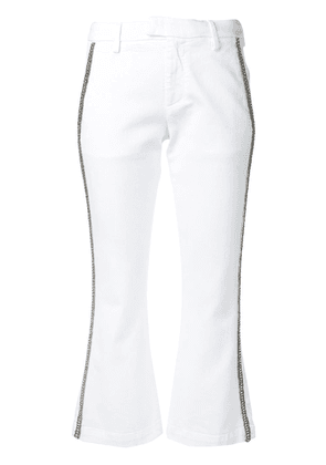 Dondup embellished trim cropped trousers - White