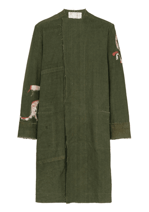 By Walid collarless mid-length trench coat - Green