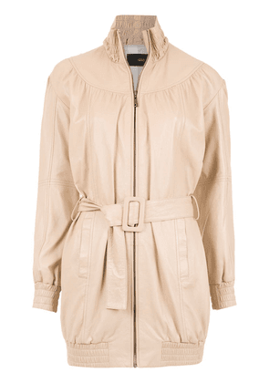 Andrea Bogosian belted leather jacket - Neutrals