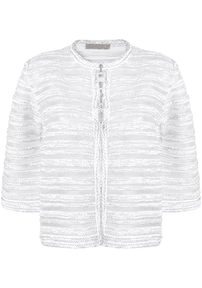 D.Exterior brocade fitted jacket - White