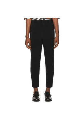 Homme Plissé Issey Miyake Black Tapered Cropped Trousers