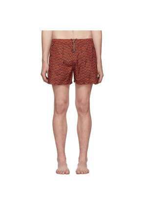 Missoni Red & Black Embroidered Patch Swim Shorts