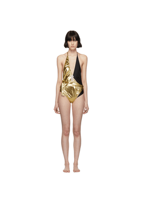 Gucci Gold & Black Lycra One-Piece Swimsuit
