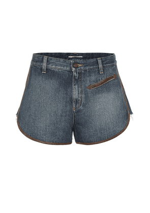 Leather-trimmed denim shorts