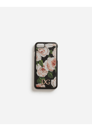 Dolce & Gabbana Hi-Tech Accessories - IPHONE 7/8 COVER IN PRINTED DAUPHINE CALFSKIN WITH LOGO FLORAL PRINT