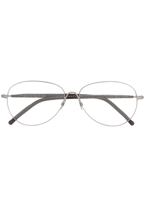 Cutler & Gross aviator frame glasses with tinted clip-on - Brown