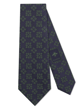 Gucci Bees and stars squares silk tie - Blue