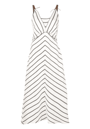 Dorothee Schumacher striped V-neck dress - White