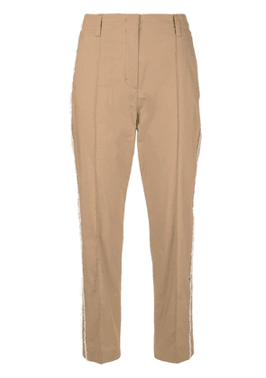 Dorothee Schumacher frayed cropped trousers - Brown