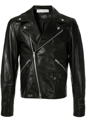 JW Anderson men's Gilbert & George leather biker jacket - Black
