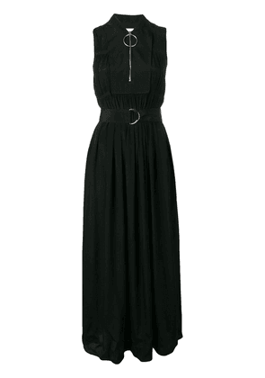 Cédric Charlier micro-pleated long dress - Black