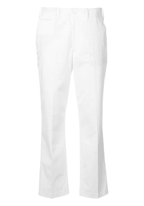 Closed high waisted cropped trousers - White