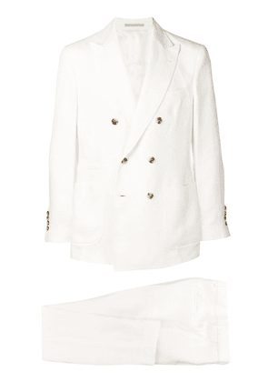Brunello Cucinelli double breasted suit set - White