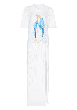 Filles A Papa Lourdes crystal embellished cotton T-shirt dress - White