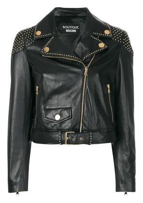 Boutique Moschino studded biker jacket - Black