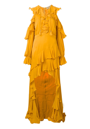 Elie Saab long ruffed dress - Yellow