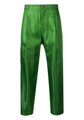 Comme Des Garçons Homme Plus cropped printed trousers - Green