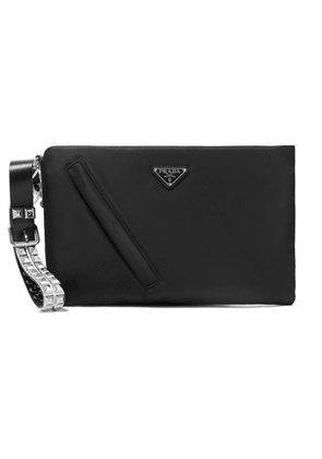 Prada - Vela Studded Leather-trimmed Shell Clutch - Black