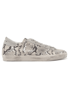 Golden Goose - Superstar Distressed Snake-effect Leather And Suede Sneakers - Snake print