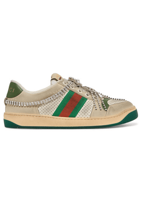 Gucci - Screener Embellished Canvas-trimmed Distressed Leather Sneakers - Beige