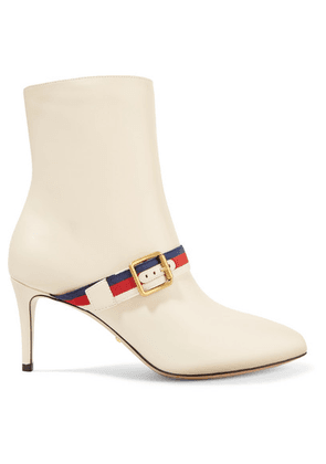 Gucci - Grosgrain-trimmed Leather Ankle Boots - Off-white