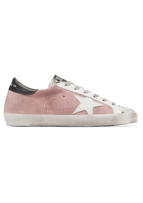 Golden Goose - Superstar Distressed Snake-effect Leather And Suede Sneakers - Blush