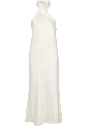 Galvan - Pandora Silk-satin Halterneck Midi Dress - Ivory