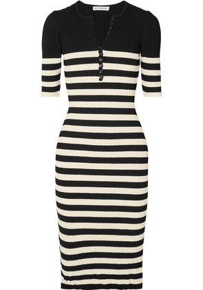 Altuzarra - Sunday Striped Ribbed Stretch-knit Midi Dress - Black