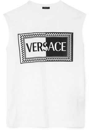 Versace - Embroidered Printed Cotton-jersey Tank - White