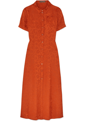 ALEXACHUNG - Satin-jacquard Shirt Dress - Orange