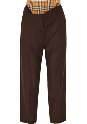 Burberry - Layered Wool And Checked Cotton Straight-leg Pants - Brown