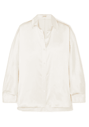 Loewe - Oversized Frayed Satin Shirt - White