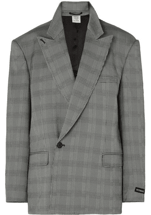 Vetements - Oversized Prince Of Wales Checked Woven Blazer - Gray
