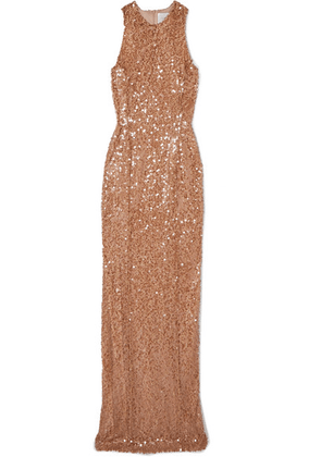 Galvan - Metallic Sequined Tulle Gown - Copper
