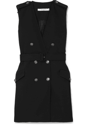 Givenchy - Belted Double-breasted Grain De Poudre Wool Mini Dress - Black