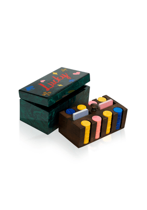 Edie Parker Acrylic And Wood Poker Set