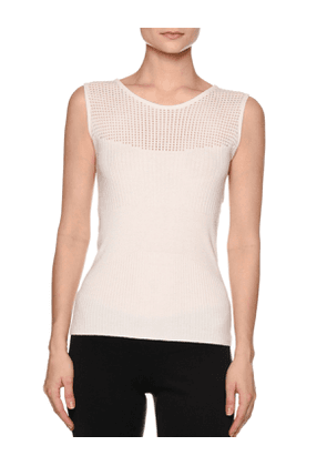 Multi-Rib Crewneck Sleeveless Sweater, White