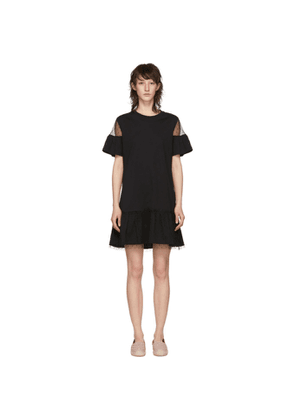 RED Valentino Black Lace T-Shirt Dress