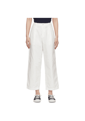 Blue Blue Japan White One Tuck Work Trousers