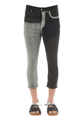 Cropped Waxed Cotton Denim Jeans