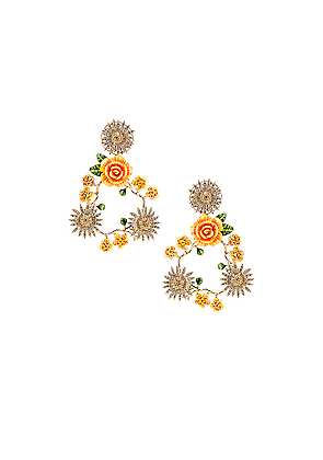 Dolce & Gabbana Floral Mix Earrings in Yellow