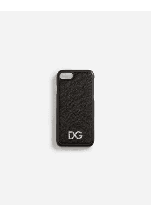 Dolce & Gabbana Hi-Tech Accessories - IPHONE 7 COVER WITH DAUPHINE CALFSKIN DETAIL AND DG CRYSTAL LOGO BLACK
