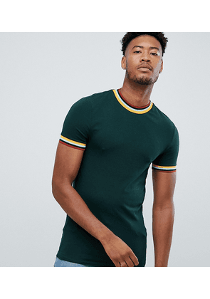 7ae1c70c ASOS DESIGN Tall muscle fit t-shirt with tipping and piping in green ...