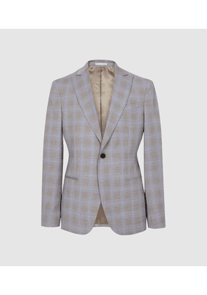 Reiss Yale - Checked Slim Fit Blazer in Light Blue, Mens, Size 36