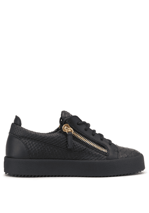 Giuseppe Zanotti - Python-embossed leather low-top sneaker NICKI