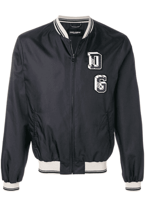 Dolce & Gabbana logo patch bomber jacket - Blue