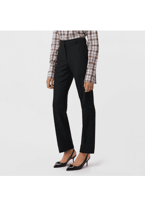 Burberry Straight Fit Stretch Wool Tailored Trousers, Size: 08, Black